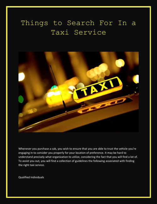 Things to Search For In a Taxi Service