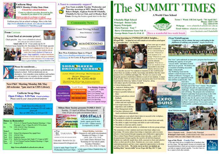 Week 11B Term 1 Summit Times 2017