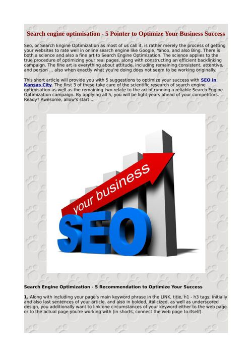 Search engine optimisation - 5 Pointer to Optimize Your Business