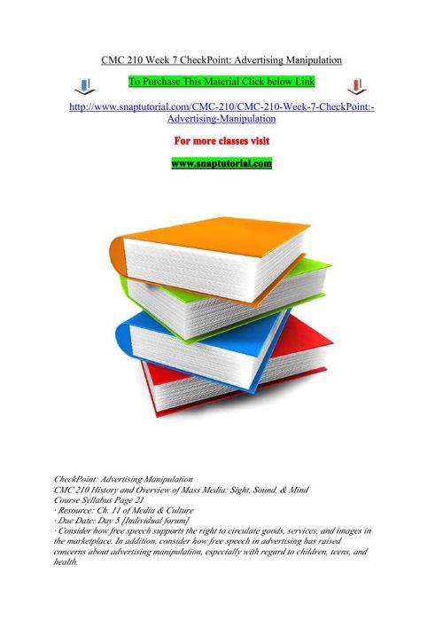 CMC 210 Week 7 CheckPoint Advertising Manipulation