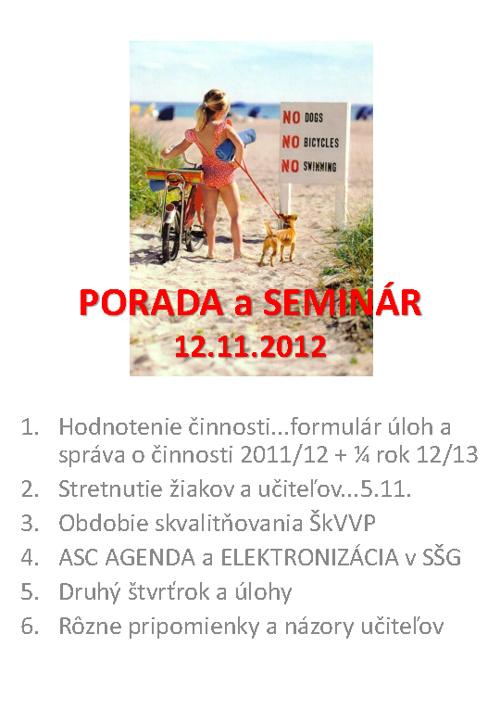 PORADA A SEMINÁR - 12.11.2012