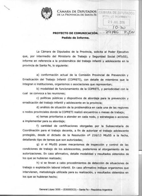 Avelino Lago - Informes sobre trabajo infantil en la Provincia