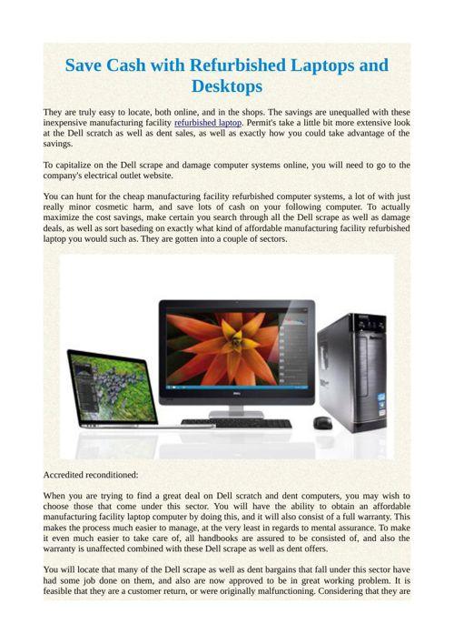 Save Cash with Refurbished Laptops and Desktops