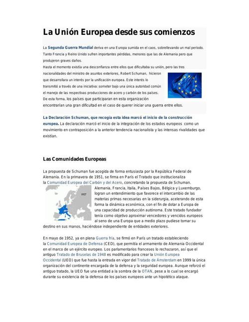 Unión Europea en sus comienzos