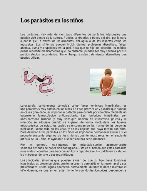 Los parásitos en los niños - libro