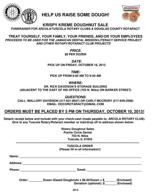 2013 Krispy Kreme Fundraiser Order Form