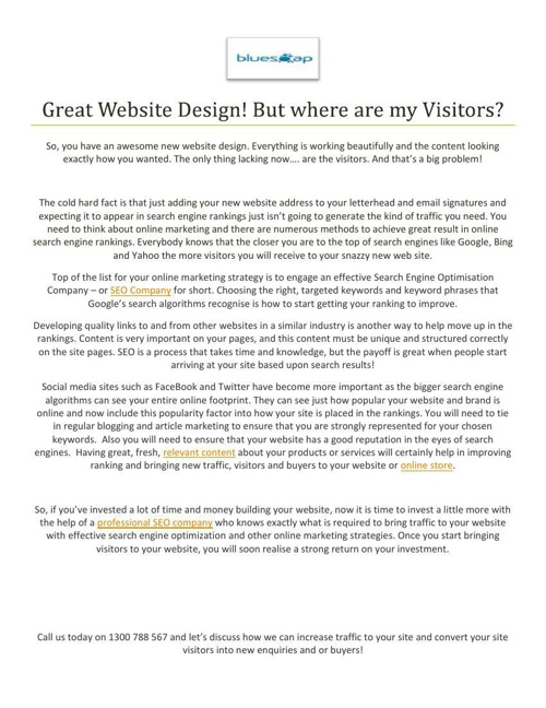 Great Website Design but No visitors. Read here why.