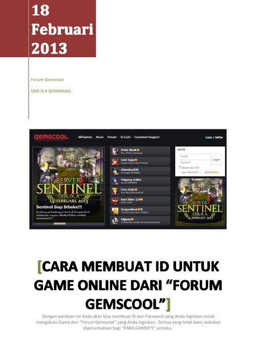 """Cara Membuat ID untuk Game Online dari """"Forum Gemscool"""""""