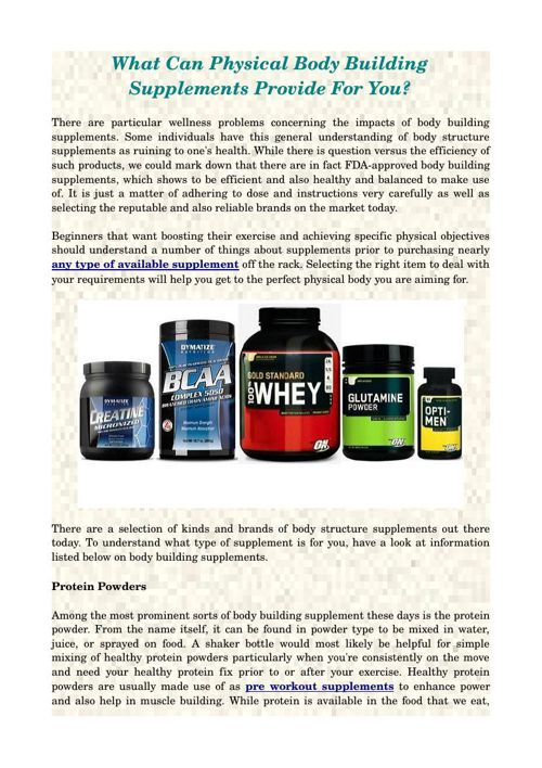 What Can Physical Body Building Supplements Provide For You?