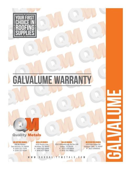 QM galvalume warranty