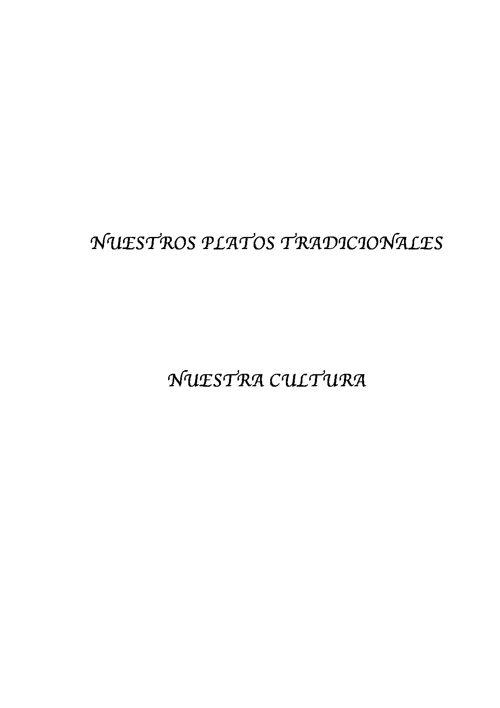 NUESTROS PLATOS TRADICIONALES