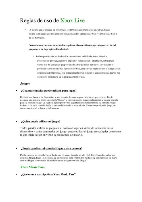 Reglamento de Xbox
