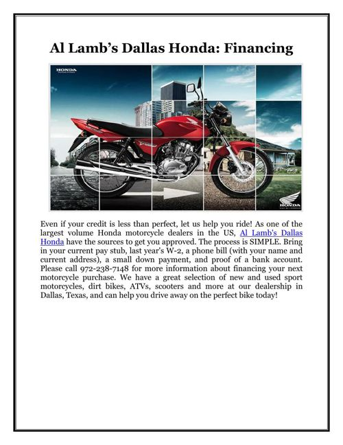 Al Lamb's Dallas Honda: Financing