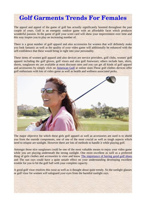 Golf Garments Trends For Females