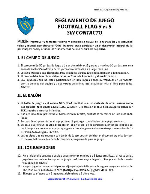 Reglamento Oficial FLAG (LEFA BCS. Abril, 2011)