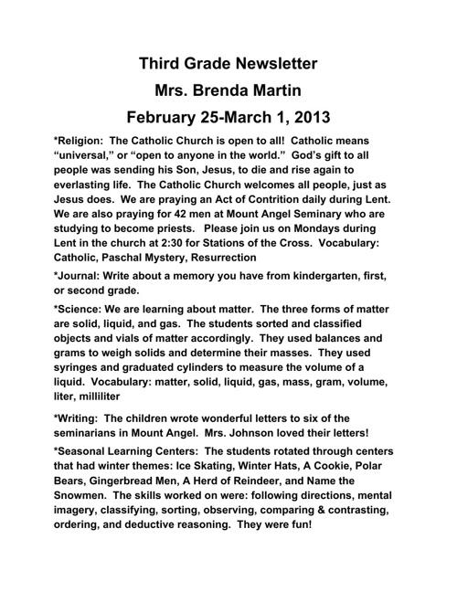 3rd Grade- March 4th