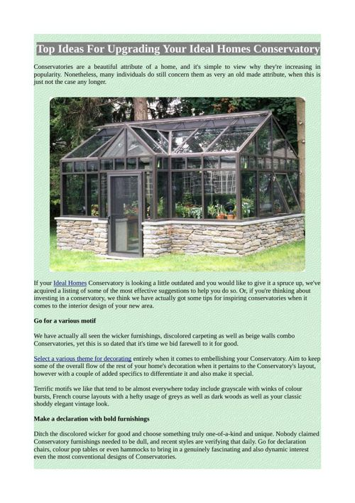 Top Ideas For Upgrading Your Ideal Homes Conservatory