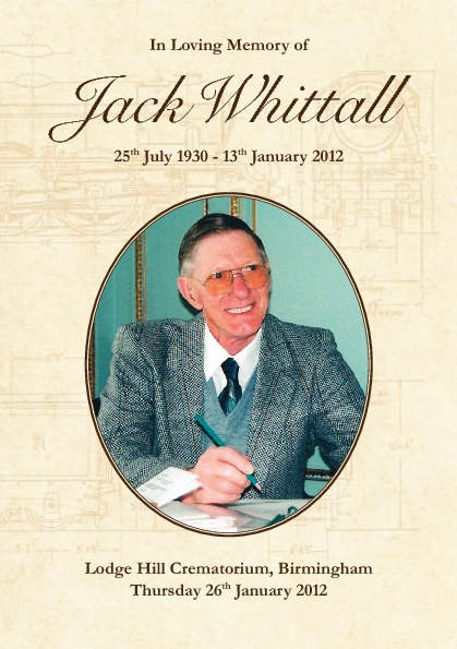 Jack Whittall - Order of Service