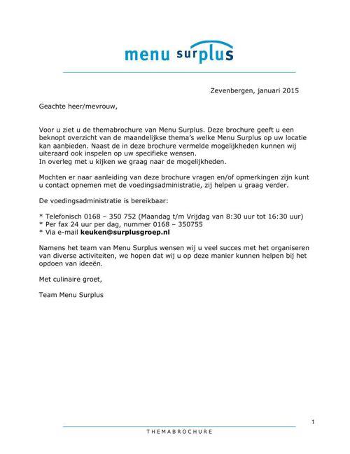 Themabrochure Menu Surplus