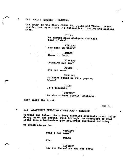 Pulp Fiction script extract