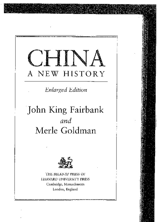 China: A New History. JK Fairbank