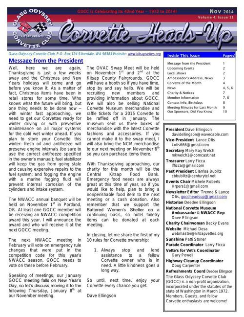 GOCC November 2014 Newsletter