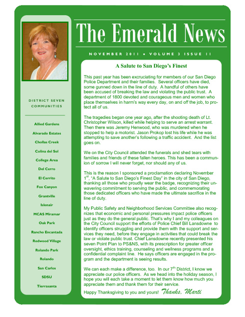 The Emerald News: Volume 3, Issue 11 (November 2011)