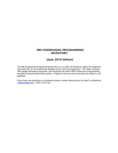 June 2016 Program Inventory