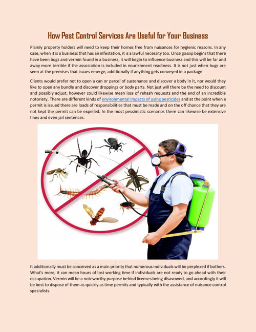 How Pest Control Services Are Useful for Your Business