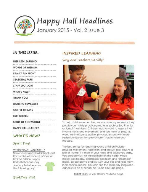 Preschool Monthly Newsletters - 2015