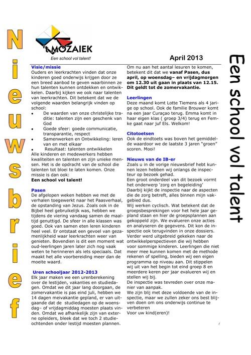 nieuwsbrief april 2013