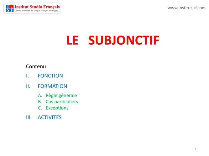 Subjonctif présent - ISF  Libro 01