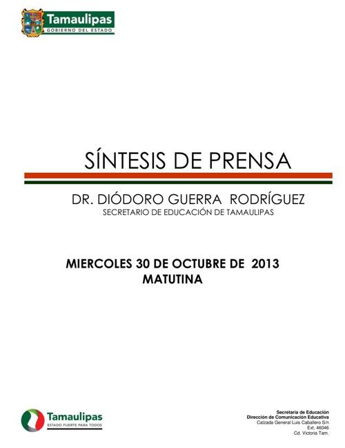 SÍNTESIS MATUTINA MIECOLES 30 DE OCTUBRE