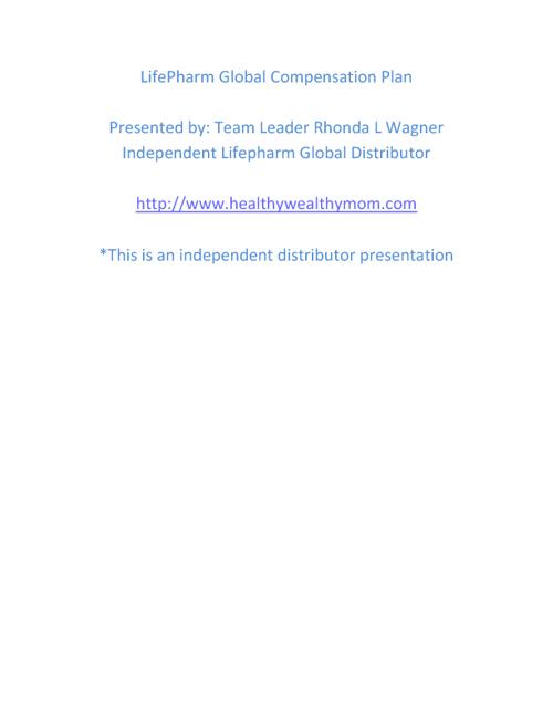 LifePharm Global Compensation Plan