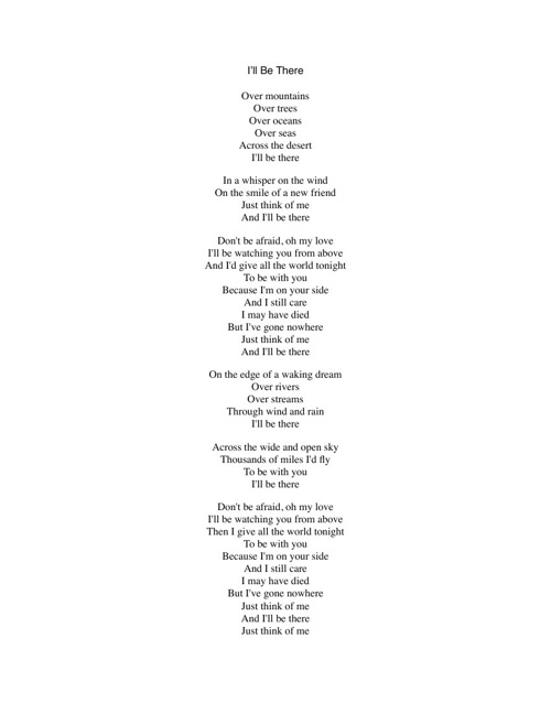 I'll Be There lyrics