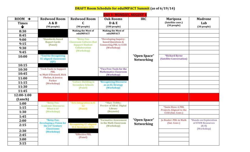 Draft Schedule for eduIMPACT
