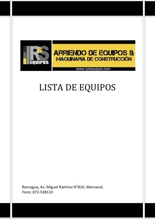 CATALOGO DE R&S EQUIPOS