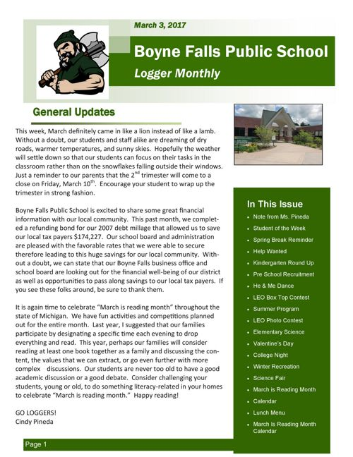 March 3, 2017 Logger Monthly