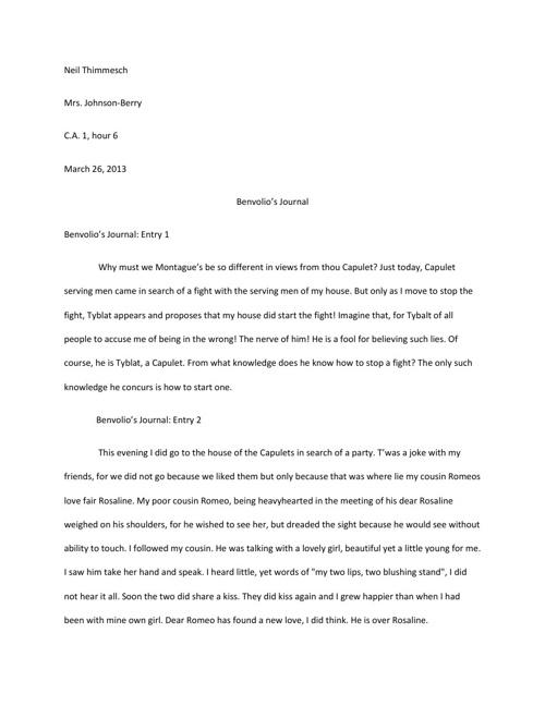 Benvolio's Journal