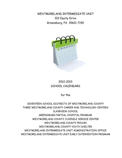 2012-2013 SCHOOL CALENDARS