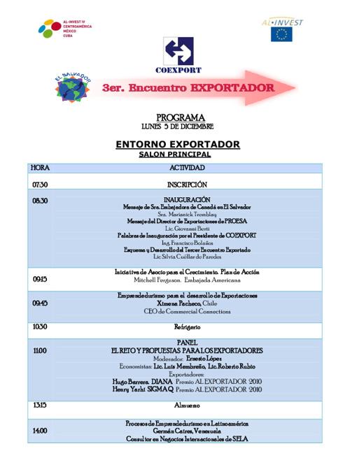 Programa del Tercer Encuentro Exportador