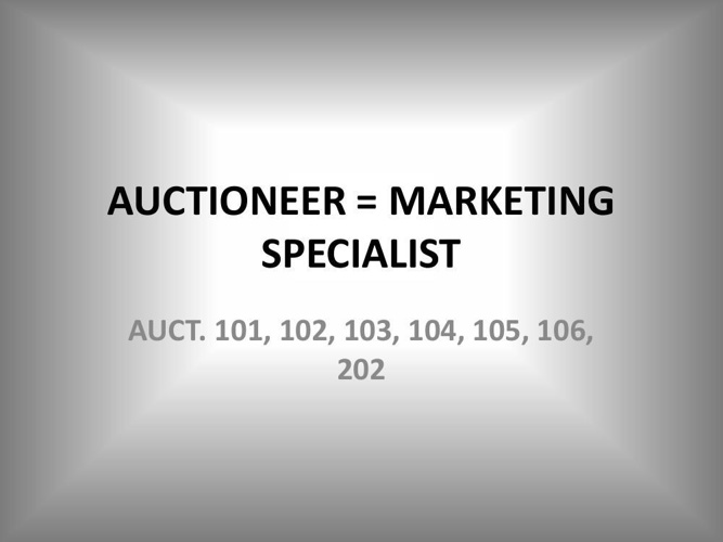 AUCTIONEER = MARKETING SPECIALIST