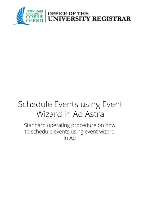 Schedule events using Event Wizard in Ad Astra