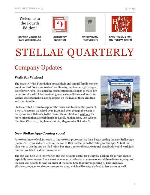 Stellae Quarterly April-September 2015