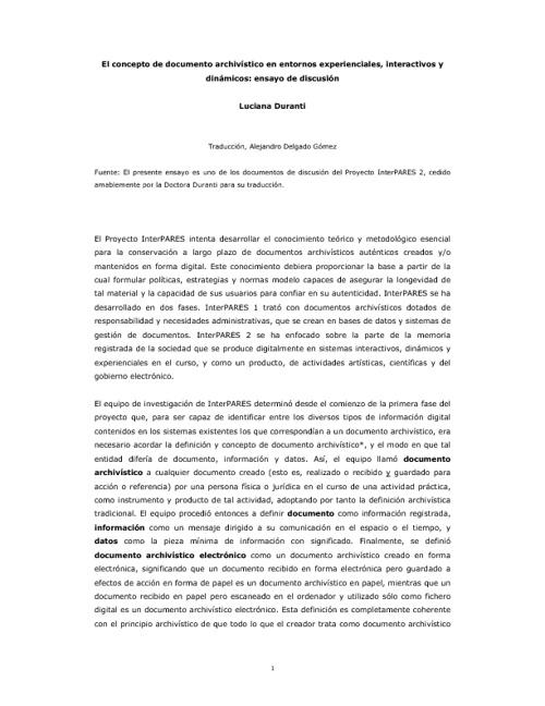 CONCEPTO DE DOCUMENTO/DOCUMENTO DE ARCHIVO