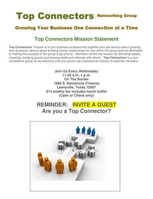 Top Connectors Sept 11 Meeting with Guest List