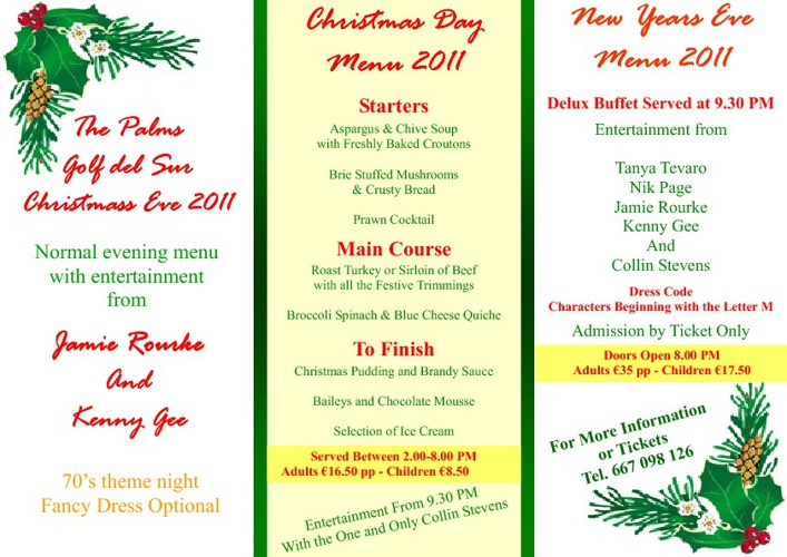The Palms Pool Bar Christmas Menu
