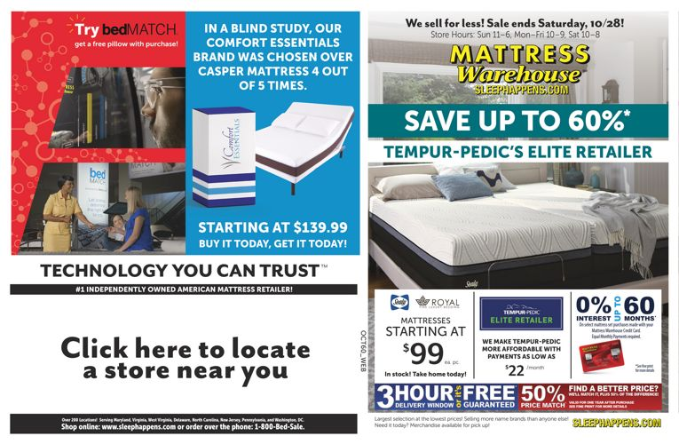 Mattress Warehouse Save up to 60% October Sale