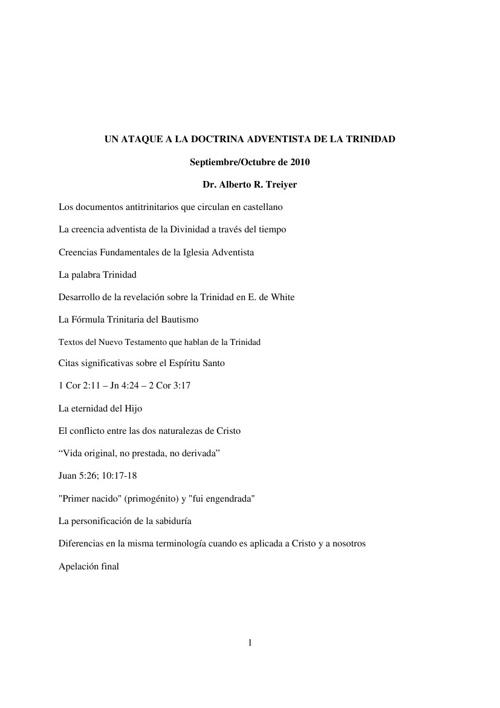 Respuesta al Ataque contra la Doctrina Adventista de la Trinidad