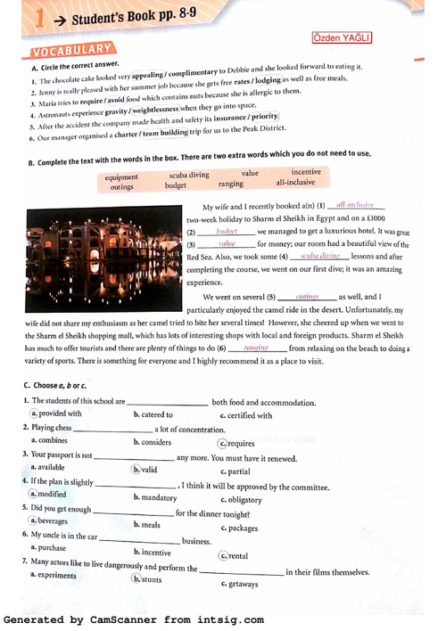 B2 Workbook - Module 1 Answer Key